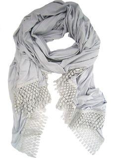 metallic lace polka-dot trim scarf