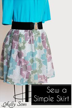 Sew a Simple Skirt Tutorial - Make this easy skirt in 45 minutes in any size without a pattern! Get the full tutorial at Melly Sews