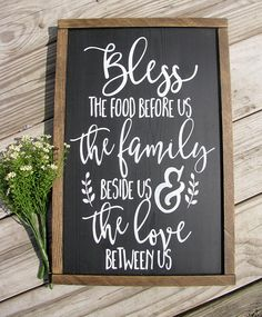 BLESS THE FOOD/rustic sign/farmhouse style sign/chalkboard sign /scripture art/religious sign/framed wood sign/wedding gift