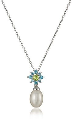 """Sterling Silver Swiss Blue Topaz, Peridot and Cultured Pearl Pendant Necklace, 18\"""" * Find out more about the great product at the image link."""