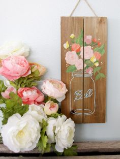 Mason Jar Pallet Sign & crafting pallet party. Spring Crafts