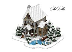 Modular Old Winter Villa In the deepest winter stands this very old large villa. It is surrounded by many snow-capped pine trees and a small lake which has already been frozen. Into the small lake is a fragile old wooden bridge. The Villa was the . Lego Christmas Village, Lego Winter Village, Lego Village, Christmas Villages, Lego Modular, Lego Design, Lego Gingerbread House, Casa Lego, Amazing Lego Creations