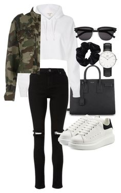 """""""Untitled #22243"""" by florencia95 ❤ liked on Polyvore featuring Yves Saint Laurent, River Island, Faith Connexion, Alexander McQueen, American Apparel and Daniel Wellington"""