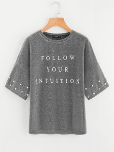Shop Drop Shoulder Pearl Beading Glitter T-shirt online. SHEIN offers Drop Shoulder Pearl Beading Glitter T-shirt & more to fit your fashionable needs. Half Sleeve Women, Half Sleeves, Dms Boutique, Metallic Tees, Home T Shirts, Latest T Shirt, Victoria, Sheer Fabrics, Sweater Shirt