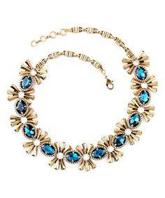 $29.99 Loving this Blue & Goldtone Oval Burst Necklace on #zulily! #zulilyfinds