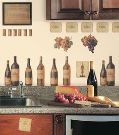 Peel and Stick Wall Designs | ... Wine Bottles + Labels peel and stick decals, wall decor stickers