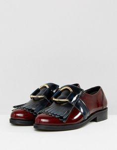 c2991a426 ASOS MILLENNIUM Wide Fit Leather Flat Shoes - Navy