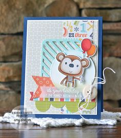 Card by Amy Sheffer. Reverse Confetti stamp set: Monkey Business. Confetti Cuts: Double Edge Wonky Scallop Border, Monkey Business, Stitched Flag Trio, Circles 'n Scallops, and Pretty Panels Diagonal Stripe. Birthday Card. Kids birthday card.
