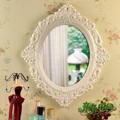 Kiss the idyllic European vanity mirror cosmetic mirror carved mirror wall mirror bathroom mirror mirror Special-ZZKKO