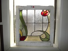 Two Antique English Stained Glass Window 19 1 2 x 20 1