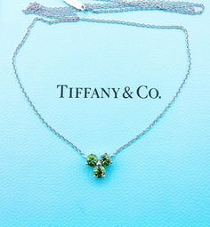 31b8dea56 Authentic Tiffany & Co Aria Pendant Necklace - 3 Green Tourmaline and  18K White Gold