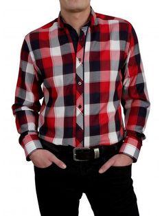 Een mooi blokjes overhemd van het merk Vegea met de kleuren rood, zwart, wit en grijs