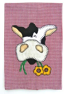 Buy Cow Applique Tea Towel, Kitchen Towel, Dish Towel, Hand Towel country decor by rkymtncrafts. Explore more products on http://rkymtncrafts.etsy.com