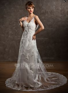Wedding Dresses - $186.99 - A-Line/Princess V-neck Court Train Satin Tulle Wedding Dress With Lace (002011633) http://jjshouse.com/A-Line-Princess-V-Neck-Court-Train-Satin-Tulle-Wedding-Dress-With-Lace-002011633-g11633