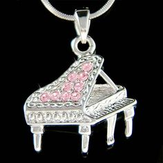 Swarovski Crystal Pink MUSIC Baby Grand Piano Musical by Kashuen