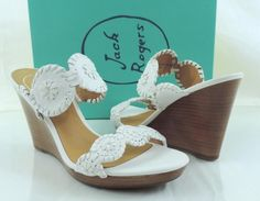Women's Shoes Jack Rogers LUCCIA Slide Wedge Sandals Leather White Size 7 #JackRogers #PlatformsWedges #Casual