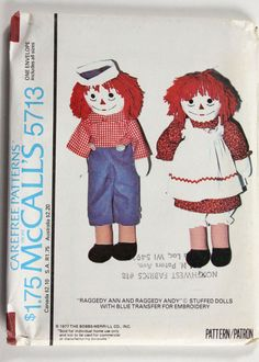 Vtg 1977 McCall's 5713 Raggedy Ann and Andy Stuffed Doll Sewing Pattern Craft &