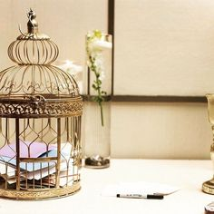 Gold Birdcage for your envelopes! Guest Gifts, Showcase Design, Bird Cage, 50th Anniversary, Event Decor, Envelopes, Shots, Events, Instagram Posts