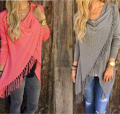 NEW Women Long Sleeve Knitted Cardigan Loose Sweater Outwear Jacket tassels Coat