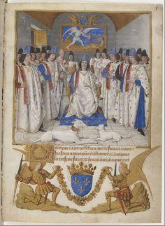 Louis XI préside le chapitre de Saint-Michel, dans les Statuts de l'ordre de Saint-Michel, miniature de Jean Fouquet, 1470, Paris, BnF.