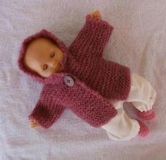 Habits poupons 30 cm - ensemble d'hiver rose (veste, pull, pantalon, chaussons)