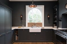 London's deVol kitchens sent me an email this week sharing this stunning shaker Kitchen in a victorian home in the heart of London. i'm working away on my own kitchen remodel ideas, so Devol Kitchens, Grey Kitchens, Bespoke Kitchens, Farmhouse Kitchens, Interior Exterior, Home Interior, Interior Livingroom, Interior Design, Dark Grey Kitchen