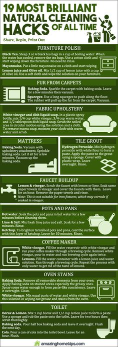 19 Most Brilliant Natural Cleaning Hacks Of All Time (Infographic)►►http://off-grid.info/blog/19-most-brilliant-natural-cleaning-hacks-of-all-time-infographic/