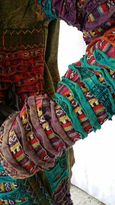 Boho Embroidery Hippy Boho Nepal Cotton Patchwork Embroidery Fleece Lined Hoody Jacket Cardigan Textiles, Ethno Style, Funky Outfits, Creation Couture, Clothing And Textile, Recycled Fashion, Altering Clothes, Patchwork Dress, Hippie Dresses
