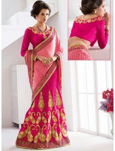 Pink Designer Lehenga Style Saree