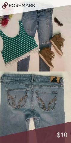 Hollister jeans Hollister jeans, skinny, used and show wear-see last pic, Hollister Jeans Skinny