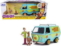 "The Mystery Machine with Shaggy and Scooby-Doo Figurines ""Scooby-Doo!"" 1/24 Diecast Model Car by Jada 1955 Chevrolet, Chevrolet Bel Air, Shaggy Scooby Doo, Scooby Doo Mystery, Jada Toys, Packing Boxes, Rubber Tires, Camaro Ss, Diecast Model Cars"