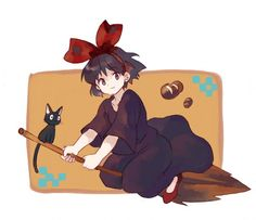 Tags: Broom, Studio Ghibli, Majo no Takkyuubin, Broom Riding, Kiki (Majo no Takkyuubin), Riding