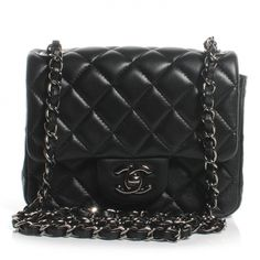 CHANEL Lambskin Quilted Mini Square Flap in Black.