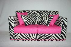 Hey, I found this really awesome Etsy listing at http://www.etsy.com/listing/154872310/doll-sofa-black-zebra-print-hot-pink