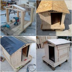 This doghouse has been created by Aleksandar, then you will see step by step through the images as you build, fijaros it has even been waterproofed him the roof, so it's a doghouse 100 outsi… Dog Crate Furniture, Diy Pallet Furniture, Large Dog House, Dog Yard, Cool Dog Houses, Pallet House, Wood Dog, Diy Projects For Beginners, Baskets On Wall