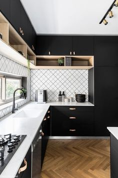The 39 Best Black Kitchens - Kitchen Trends You Need To SeeYou can find Black kitchens and more on our website.The 39 Best Black Kitchens - Kitchen Trends You Need To See Kitchen Room Design, Kitchen Cabinet Design, Modern Kitchen Design, Home Decor Kitchen, Interior Design Kitchen, Kitchen Furniture, Kitchen Ideas, Stylish Kitchen, Furniture Stores