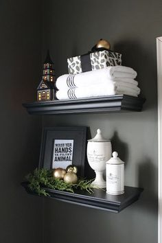 Christmas cheer in the powder room. The Yellow Cape Cod: 2016 Holiday Home Tour Christmas cheer in t Christmas Bathroom Decor, Christmas Home, Xmas, Affordable Home Decor, Cheap Home Decor, Christmas Tree Decorating Tips, Decorating Ideas, Christmas Decorations, Decor Ideas