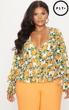 Plus Orange Printed Tie Waist Blouse Pretty Little Thing Free Shipping Fast Delivery Deals Cheap Online Clearance Extremely Free Shipping Sexy Sport 5jBfCh5YkQ