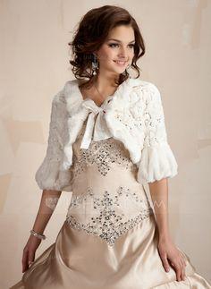 Wraps - $26.99 - Half-Sleeve Faux Fur Wedding Wrap (013005745) http://jjshouse.com/Half-Sleeve-Faux-Fur-Wedding-Wrap-013005745-g5745/?utm_source=crtrem&utm_campaign=crtrem_US_28010&utm_content=newsfeed