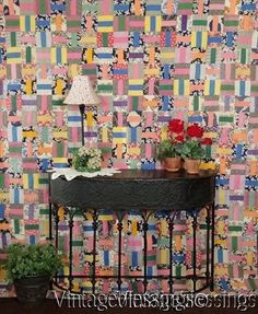 """All Feedsacks! Beautiful Vibrant Vintage 30s Rail Fence QUILT 88x77"""" www.Vintageblessings.com Old Quilts, Antique Quilts, Vintage Quilts, Rail Fence Quilt, Quilt Display, Primitive Quilts, Quilts For Sale, Tablerunners, Traditional Quilts"""