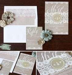 Burlap and Lace! Loving the lace and personalized sticker binding for this invitation suite.