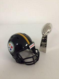 3d366f39144 PITTSBURGH STEELERS Riddell Pocket Pro Helmet W MINI REPLICA SUPER BOWL  TROPHY  PittsburghSteelers Nfl