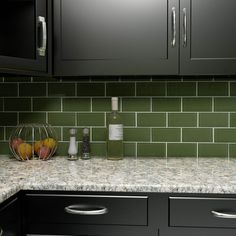 Merola Tile Tessera Subway Sage 3 in. x 6 in. x 8 mm Glass Wall Tile sq. / - The Home Depot Glass Subway Tile Backsplash, Subway Tile Colors, Green Subway Tile, Ceramic Subway Tile, Mosaic Wall Tiles, Mosaic Glass, Subway Tiles, Backsplash Ideas, Green Tile Backsplash