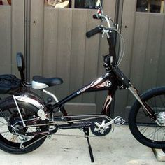 Photos of custom motorized bicycles.See OCC Schwinn Stingray choppers we've motorized.Also rat rods & cruisers, e-bikes or ones with gas and electric motors. Bike Chopper, Gas Powered Bicycle, Banana Seat Bike, Tricycle Bike, Bicycles For Sale, Motorised Bike, Motorized Bicycle, Gas And Electric, Choppers