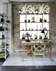 Who says shelves have to be limited to ornaments and books? This botanic-inspired home office uses them for foliage