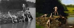Thomas Eakins, The Swimming Hole  Thomas Eakins' masterpiece depicting the male nude celebrates the figures of friends and students (and the painter himself), which caused a stir in fine art circles. The Swimming Hole was based a series of photos Eakins snapped at Dove Lake near Philadelphia. The above 1883 black and white shows the subjects lounging on the rocks, while their poses in the painting allude to classical sculpture.