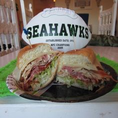 """This delicious sub is packed with succulent meats and cheeses with a flavor of explosion of sweet and salty condiments. The Hawks Bada Bing Sub will be the """"Hit of the Season!"""""""