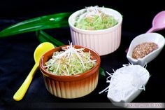 pandan glutinous rice with coconut and sesame