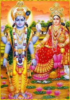 """✨ SHRI LAKSHMI NARAYAN ✨  Artist: C.Sivas  Prahlada Maharaja said:  """"Just as the fruits and flowers of a tree in due course of time undergo six changes—birth, existence, growth, transformation, dwindling and then death—the material body, which is..."""