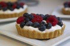 Vegan Coconut Cream Berries Tartlets. Guilt free, clean dessert.